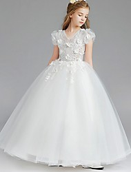 cheap -Princess / Ball Gown Knee Length Wedding / Party Flower Girl Dresses - Tulle Short Sleeve V Neck with Tier / Appliques