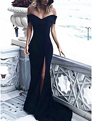 cheap -Sheath / Column Elegant Prom Formal Evening Dress Off Shoulder Sleeveless Court Train Spandex with Split 2020