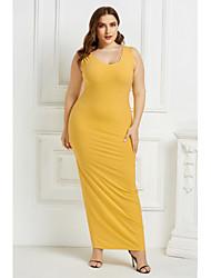 cheap -Women's Shift Dress Maxi long Dress - Sleeveless Solid Color Summer Elegant 2020 Wine Black Yellow Green Navy Blue S M L XL XXL XXXL XXXXL XXXXXL