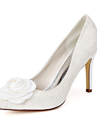 cheap -Women's Wedding Shoes Stiletto Heel Pointed Toe Sweet Wedding Party & Evening Lace Satin Flower Floral Summer White Ivory