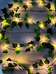 cheap -2M 20LED Artificial Fake Creeper Green Leaf Ivy Vine LED String Lights Battery Operated Fairy Light Wedding Birthday Garden Party Family Party Room Decoration Without Battery