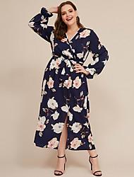 cheap -Women's Plus Size A-Line Dress Maxi long Dress - Long Sleeve Print Fall V Neck Casual 2020 Blue XXL XXXXXL