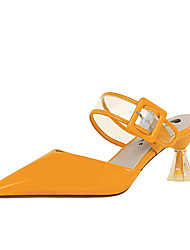 cheap -Women's Heels Spring / Summer Cone Heel Pointed Toe Sexy Daily Buckle / Button Solid Colored Patent Leather Nude / White / Black