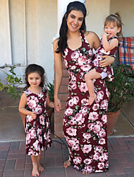 cheap -Mommy and Me Vintage Sweet Floral Color Block Print Sleeveless Maxi Dress Wine