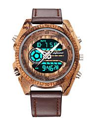 cheap -Men's Sport Watch Digital Modern Style Stylish Fashion Wooden Day Date Digital Black Red Brown / Genuine Leather / Genuine Leather