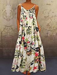 cheap -Women's Strap Dress Maxi long Dress Yellow Red Sleeveless Floral Summer Hot Casual 2021 M L XL XXL 3XL 4XL 5XL