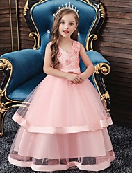 cheap -Princess / Ball Gown Floor Length Wedding / Party Flower Girl Dresses - Tulle Sleeveless V Neck with Sash / Ribbon / Bow(s) / Tier