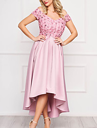 cheap -A-Line Floral Vintage Homecoming Cocktail Party Dress Off Shoulder Short Sleeve Asymmetrical Satin with Pleats Appliques 2020