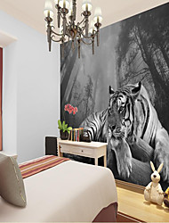 cheap -Custom Self Adhesive Mural Tiger is Suitable for Background Wall Coffee Shop Hotel Wall Decoration Art Canvas Material Adhesive required   Wall Cloth Room Wallcovering
