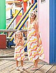 cheap -Mommy and Me Basic Sweet Striped Sleeveless Midi Dress Rainbow