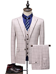 cheap -Yellow Patterned Standard Fit Polyester Suit - Peak Single Breasted Two-buttons / Suits
