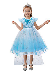 cheap -Princess Frozen Dress Flower Girl Dress Girls' Movie Cosplay A-Line Slip Euramerican Vacation Dress Blue Dress Halloween Children's Day