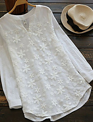 olcso -Női Egyszínű Póló Napi Fehér / Medence / Arcpír rózsaszín