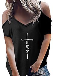 halpa -Naisten Kirjain T-paita Pyöreä kaula-aukko Päivittäin Kesä Valkoinen Musta Uima-allas S M L XL 2XL