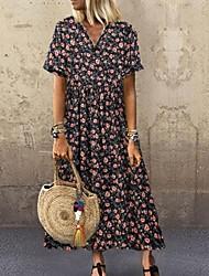 billiga -Dam A-linjeklänning Maxiklänning - Kort ärm Blommig Sommar Ledigt Bohem Helgdag Semester 2020 Grön Brun Marinblå L XL XXL XXXL XXXXL