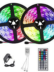 cheap -ZDM 2x5M LED Light Strips RGB Tiktok Lights 300 X 2835 SMD 8mm LEDs with IR 44 Key Double Outlet Controller DC12V
