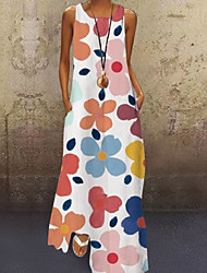 cheap -Women's A-Line Dress Maxi long Dress Sleeveless Sun Flower Floral Print Summer Hot 2021 Purple Yellow Blushing Pink Light Green Light Blue S M L XL XXL 3XL