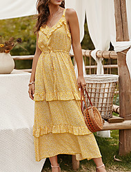 cheap -Women's Strap Dress Maxi long Dress Red Yellow Dusty Blue Short Sleeve Floral Summer V Neck Casual Sexy 2021 S M L XL