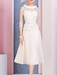 cheap -A-Line Mother of the Bride Dress Elegant Cowl Neck Tea Length Chiffon Lace 3/4 Length Sleeve with Pleats Appliques 2020