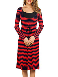 cheap -Women's A-Line Dress Knee Length Dress - Long Sleeve Striped Summer Casual 2020 Red Blushing Pink S M L XL XXL