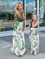 cheap -Mommy and Me Basic Boho Floral Ruched Print Sleeveless Maxi Dress Green