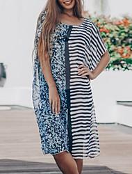 cheap -Women's Shift Dress Knee Length Dress - Short Sleeves Striped Summer Casual 2020 Light Blue One-Size