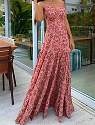 cheap -Women's Strap Dress Maxi long Dress - Sleeveless Floral Summer Sexy 2020 Blushing Pink S M L XL