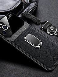 cheap -iPhone11Pro Max Leather  Hard PC Sheath Mobile Phone Case XS Max With Ring Stand With Lanyard 6 7 8Plus SE 2020 Protective Case