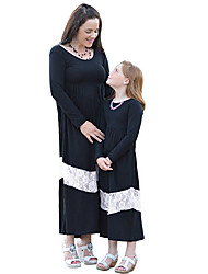 cheap -Mommy and Me Vintage Sweet Black & White Color Block Lace Long Sleeve Maxi Dress Black