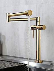 cheap -Golden Folding Kitchen Faucet Household Rotating High Sink Sink Faucet