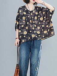 cheap -Women's Floral Daisy Print T-shirt Daily Navy Blue