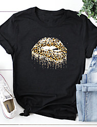 cheap -Women's T shirt Leopard Cheetah Print Print Round Neck Tops 100% Cotton Basic Basic Top White Black Red