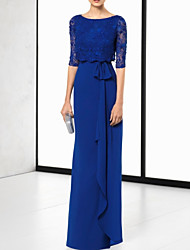 cheap -Sheath / Column Cut Out Elegant Wedding Guest Formal Evening Dress Jewel Neck Half Sleeve Floor Length Chiffon Lace with Sash / Ribbon 2021