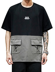 cheap -Men's Color Block T-shirt Daily Black / Gray