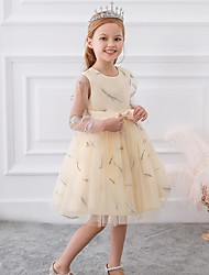 cheap -Princess / Ball Gown Knee Length Wedding / Party Flower Girl Dresses - Tulle Long Sleeve Jewel Neck with Sash / Ribbon / Bow(s) / Pattern / Print