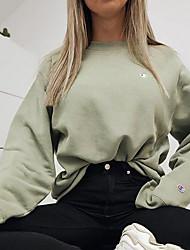 cheap -Women's Sweatshirt Solid Colored Basic Hoodies Sweatshirts  Cotton Green