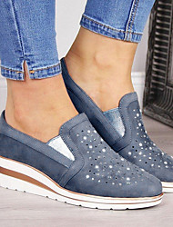 cheap -Women's Loafers & Slip-Ons Wedge Heel Round Toe Suede Summer Pink / Blue / Gray
