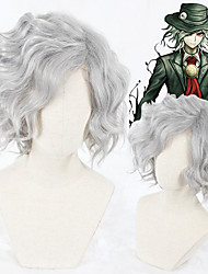 cheap -Cosplay Costume Wig Cosplay Wig Edmond Dantes Gankutsuou Fate / Stay Night Curly Cosplay Asymmetrical Wig Short Grey Synthetic Hair 14 inch Men's Anime Cosplay New Design Gray