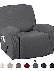 cheap -Stretch Recliner Chair Cover Recliner Cover for Electric/Manual Style Furniture Cover for Reclining with Side Pocket Soft Checked Jacquard Fabric Form Fitted