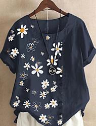cheap -Women's Blouse Shirt Graphic Round Neck Tops Cotton Basic Top Blue Yellow Light Blue