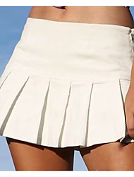 cheap -Women's Tennis Golf Skirt Butt Lift Quick Dry Breathable Sports Outdoor Autumn / Fall Spring Summer Solid Color White Black / Micro-elastic