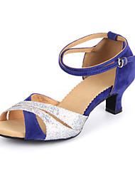 cheap -Women's Latin Shoes Heel Paillette Cuban Heel Black Blue