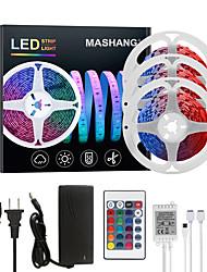 Недорогие -mashang 15м (3 * 5м) светодиодные полосы света RGB TIKTOCK светильники 450leds гибкое изменение цвета SMD 5050 с 24 клавишами ик-пульта дистанционного управления и 100-240В адаптер для домашней