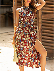 cheap -Women's Swing Dress Midi Dress - Sleeveless Floral Summer Elegant Mumu Vacation Going out 2020 Red S M L XL
