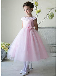 cheap -A-Line Ankle Length Wedding / Party Flower Girl Dresses - Lace / Satin / Tulle Sleeveless Jewel Neck with Bow(s)
