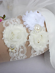 cheap -Polyester Solid Color / Pearls Wedding Garter With Rhinestone Garters Wedding / Special Occasion