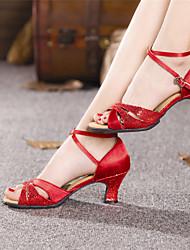 cheap -Women's Latin Shoes Heel Cuban Heel Red Gold Silver