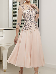 cheap -A-Line Mother of the Bride Dress Elegant Illusion Neck Jewel Neck Ankle Length Chiffon Lace Tulle 3/4 Length Sleeve with Pleats Appliques 2020