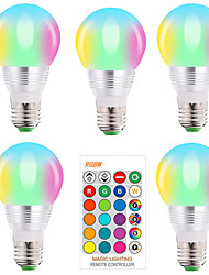 cheap -5pcs E27 E14 RGB Led Bulb 5W Dimmable 16 Color Changing Magic Bulb AC 220V 110V RGBW White IR Remote Night Light