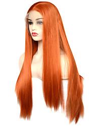 Недорогие -моде королева оранжевый длинный прямой синтетический парик фронта шнурка высокого качества термостойкое волокно ежедневно носить для женщин
